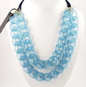 NWT! J. Crew Necklace Acrylic Open Links Pale Blue